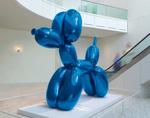 Balloon Dog mirror-polished stainless steel with transparent color coating 121 x 143 x 45 inches 307.3 x 363.2 x 114.3 cm © Jeff Koons 5 unique versions (Blue, Magenta, Yellow, Orange, Red) 1994-2000
