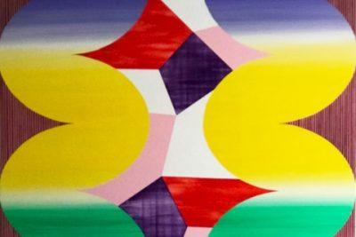 """Shirley Kaneda, Halcyon Distress, 2018, 72"""" x 63"""" acrylic on canvas"""
