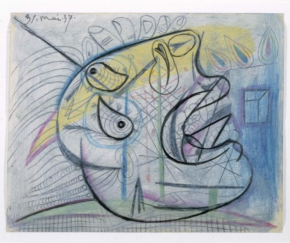 Pablo Picasso, 1937, Graphite, gouache and colour stick on tracing cloth, 23.2 x 29.3 cm