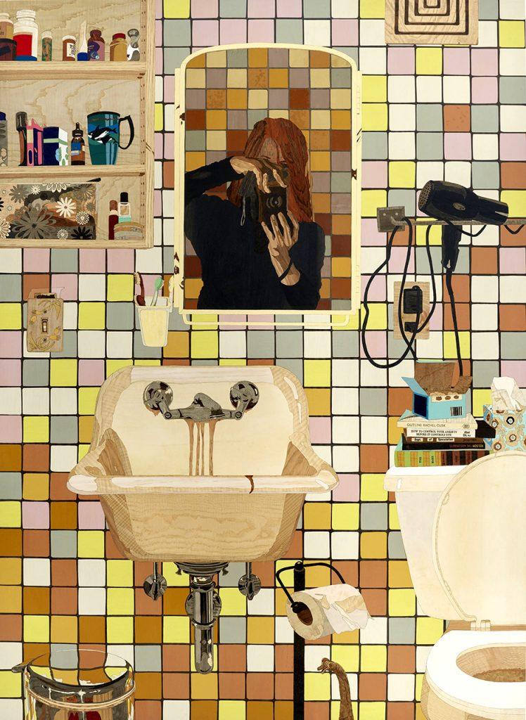 "Alison Elizabeth Taylor, 2017, The Sum of It, wood veneer, acrylic, shellac, 72"" x 52"""